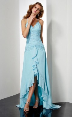 Pool Chiffon Sheath/Column Halter Floor-length Bridesmaid Dresses(JT2853)