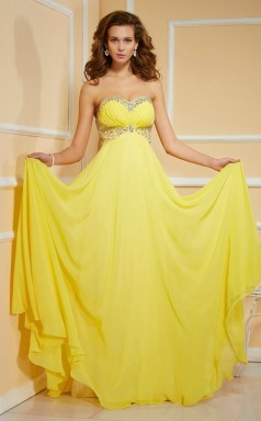 Yellow Chiffon A-line Sweetheart Floor-length Bridesmaid Dresses(JT2855)