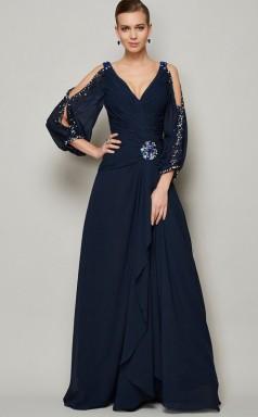 Navy Blue Chiffon A-line v-neck 3/4 Length Sleeve Floor-length Bridesmaid Dresses(JT2857)