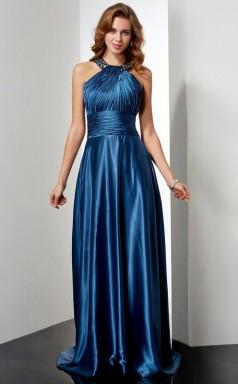 Ocean Blue Charmeuse A-line Halter Floor-length Prom Formal Dresses(JT2864)