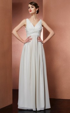 Beige Chiffon A-line v-neck Floor-length Prom Formal Dresses(JT2865)
