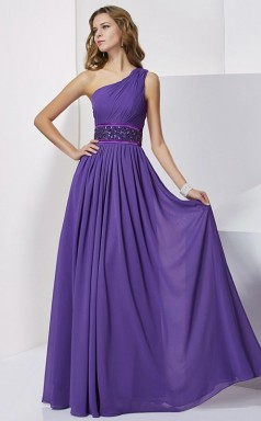 Purple Chiffon A-line One Shoulder Floor-length Prom Formal Dresses(JT2866)