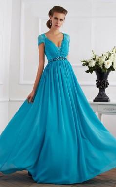 Ocean Blue Chiffon A-line v-neck Short Sleeve Floor-length Prom Formal Dresses(JT2867)