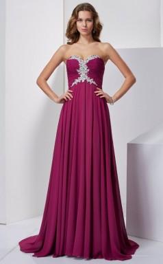 Dark Fuchsia Chiffon A-line Sweetheart Floor-length Bridesmaid Dresses(JT2868)