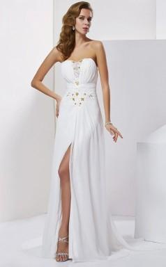 White Chiffon Sheath/Column Strapless Floor-length Prom Formal Dresses(JT2871)