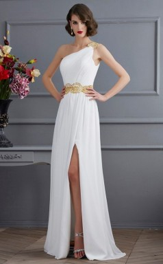 White Chiffon Sheath/Column One Shoulder Floor-length Bridesmaid Dresses(JT2874)