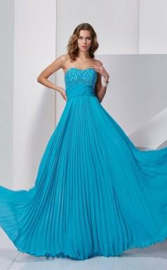 Ocean Blue Chiffon A-line Sweetheart Floor-length Bridesmaid Dresses(JT2879)