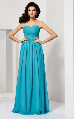 Ocean Blue Chiffon A-line Sweetheart Floor-length Clearance Prom Dresses(JT2880)