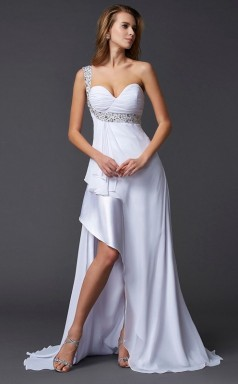 Ocean Blue Chiffon Charmeuse Sheath/Column One Shoulder Asymmetrical Bridesmaid Dresses(JT2885)