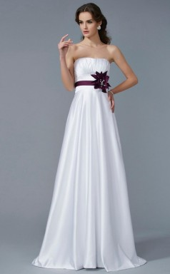 Violet Red Charmeuse A-line Strapless Floor-length Clearance Prom Dresses(JT2893)