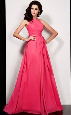Black Chiffon A-line Halter Floor-length Clearance Prom Dresses(JT2894)