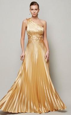 Orange Red Charmeuse A-line One Shoulder Floor-length Bridesmaid Dresses(JT2897)