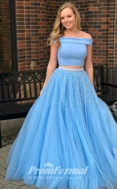 Light Ocean Blue Off Shoulder Two Piece Beaded Prom Gown Dresses JT2PUK004