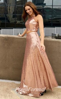 Rose Gold Two Piece Sequined A Line Prom Dress with Halter Neck JT2PUK007