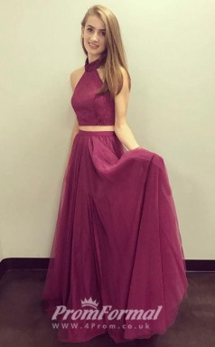 Two Piece Halter Neck Burgundy Graduation Prom Dress JT2PUK011