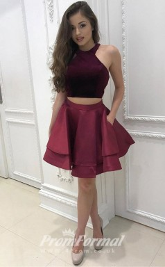 Short Burgundy Girls 2 Piece Prom Dress with Halter Neck JT2PUK015