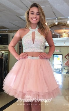 Short Beading Pink Girls 2 Piece Graduation Sweet 16 Dress JT2PUK020