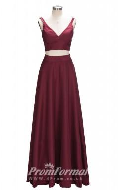 Burgundy V Neck Long 2 Piece Mother Dresses/Prom Dresses JT2PUK024