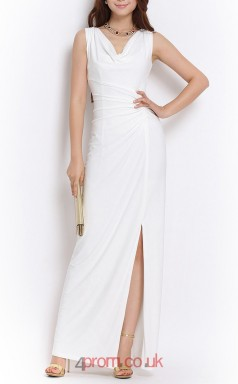 White Chiffon Sheath Cowl Ankle-length Celebrity Dress With Split Front(JT3540)