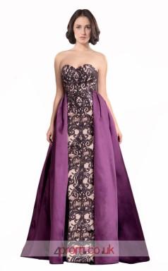 Purple Satin Lace Sheath Sweetheart Long Prom Dress(JT3549)
