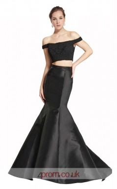 Black Satin Lace Mermaid Off The Shoulder Short Sleeve Long Two Piece Prom Dress(JT3554)