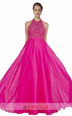 Fuchsia Tulle Lace A-line Halter Long Prom Dress(JT3558)