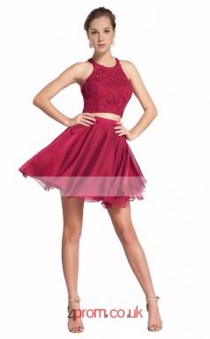 Dark Fuchisa Chiffon Lace A-line Halter Short/Mini Two Piece Prom Dress(JT3559)