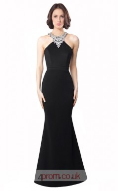 Black Satin Chiffon Mermaid Halter Long Prom Dress(JT3564)