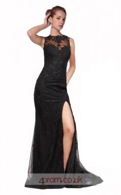 Black Lace Mermaid Bateau Long Prom Dress With Split Side(JT3569)