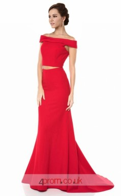 Red Charmeuse Mermaid Off The Shoulder Short Sleeve Long Two Piece Prom Dress(JT3571)