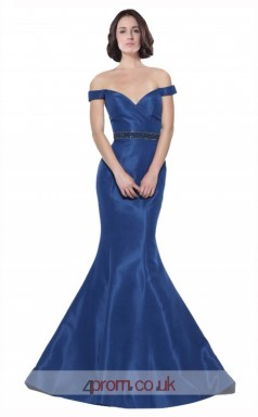 Blue Stretch Satin Mermaid Off The Shoulder Short Sleeve Long Prom Dress(JT3581)