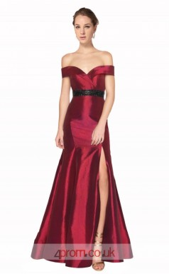 Dark Burgundy Taffeta Mermaid Off The Shoulder Short Sleeve Long Prom Dress With Split Side(JT3585)