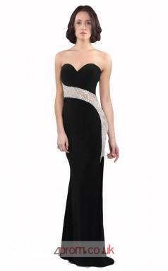 Black Satin Chiffon Mermaid Sweetheart Long Prom Dress(JT3590)