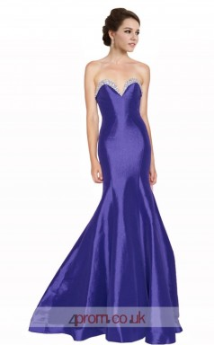 Blue Taffeta Mermaid Sweetheart Long Prom Dress(JT3594)