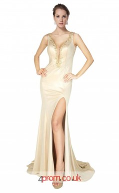 Champange Charmeuse Mermaid V-neck Long Prom Dress With Split Side(JT3598)