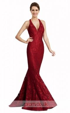 Burgundy Lace Mermaid V-neck Halter Long Prom Dress(JT3600)