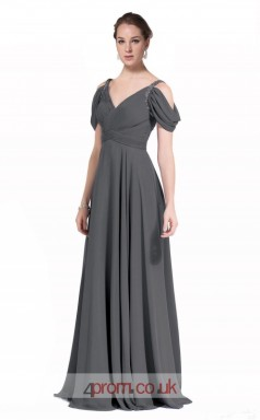 Dark Gray Chiffon A-line Off The Shoulder Short Sleeve Long Prom Dress(JT3602)