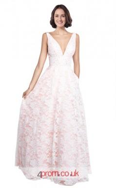 Pink Lace A-line V-neck Long Prom Dress(JT3606)