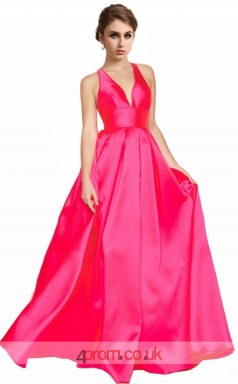 Deep Pink Stretch Satin A-line V-neck Long Prom Dress(JT3608)