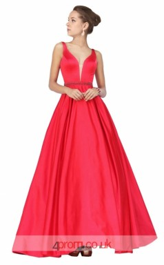 Indian Red Charmeuse A-line V-neck Long Prom Dress(JT3609)