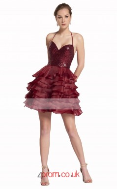 Dark Burgundy 30D Chiffon Lace A-line Halter Short/Mini Prom Dress(JT3610)