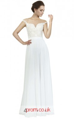 White Lace Chiffon A-line Off The Shoulder Long Prom Dress(JT3614)