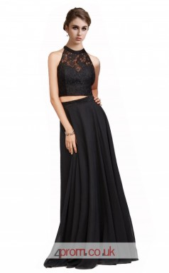 Black Lace Chiffon A-line Halter Long Two Piece Prom Dress(JT3618)