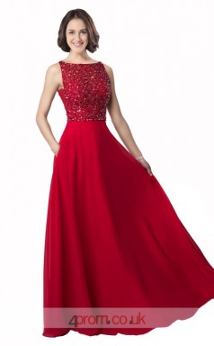 Burgundy Chiffon A-line Bateau Long Prom Dress(JT3619)