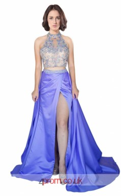 Dark Leavender Charmeuse A-line Halter Long Two Piece Prom Dress With Split Front(JT3620)
