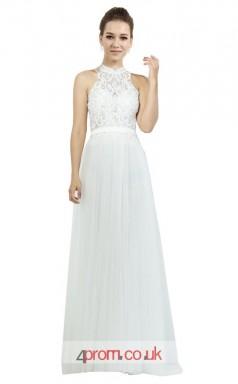 White Chiffon A-line Halter Long Prom Dress(JT3621)