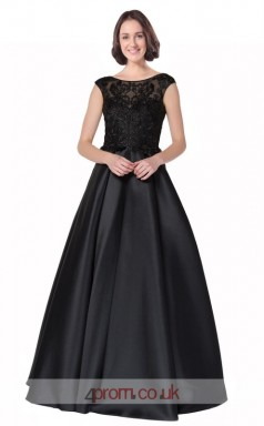 Black Satin Lace A-line Scoop Short Sleeve Long Prom Dress(JT3628)