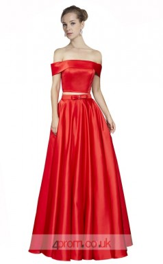 Firebrick Stretch Satin A-line Off The Shoulder Short Sleeve Long Two Piece Prom Dress(JT3633)