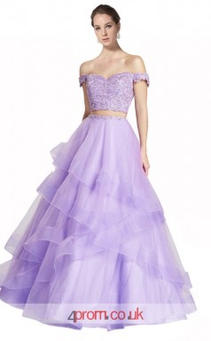 Lilac Tulle Lace A-line Off The Shoulder Short Sleeve Floor Length Two Piece Prom Dress(JT3636)