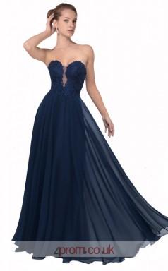 Navy Blue Chiffon A-line Sweetheart Floor Length Prom Dress(JT3639)
